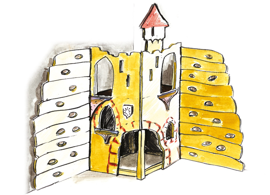 indoor spielwand spielburg f r raumecke ziegler spielpl tze. Black Bedroom Furniture Sets. Home Design Ideas